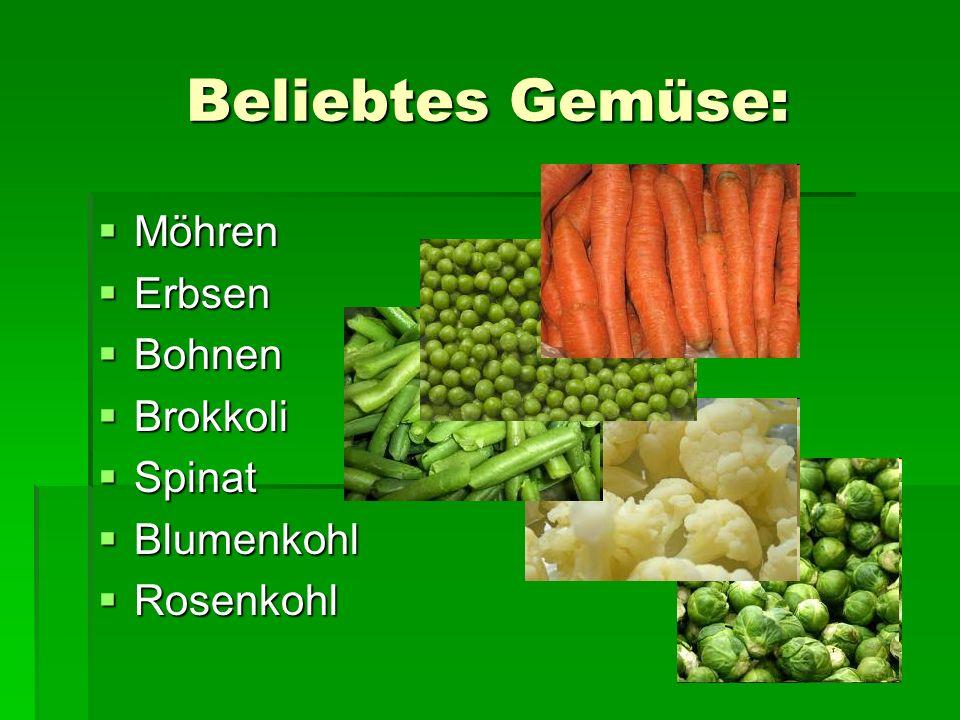 Beliebtes Gemüse: Möhren Möhren Erbsen Erbsen Bohnen Bohnen Brokkoli Brokkoli Spinat Spinat Blumenkohl Blumenkohl Rosenkohl Rosenkohl