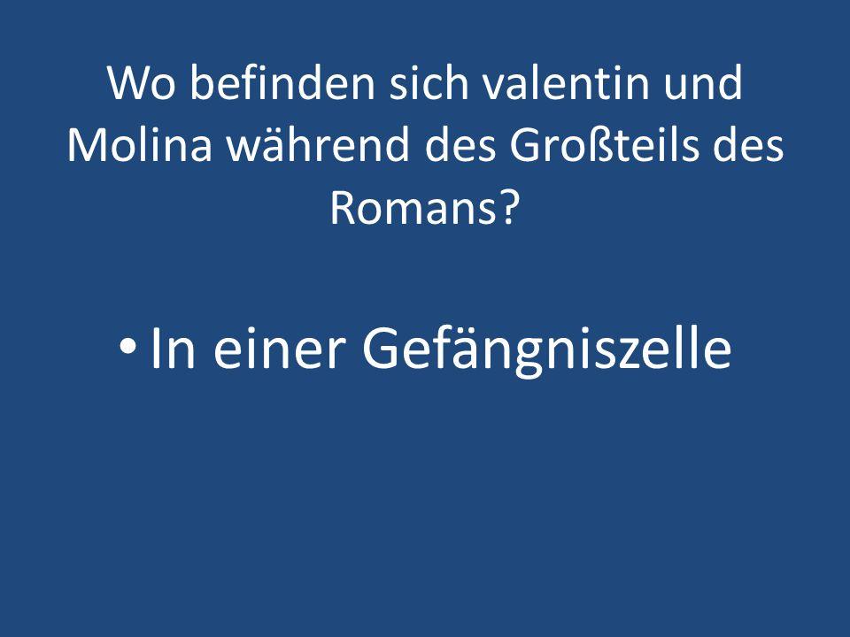 Wo befinden sich valentin und Molina während des Großteils des Romans? In einer Gefängniszelle