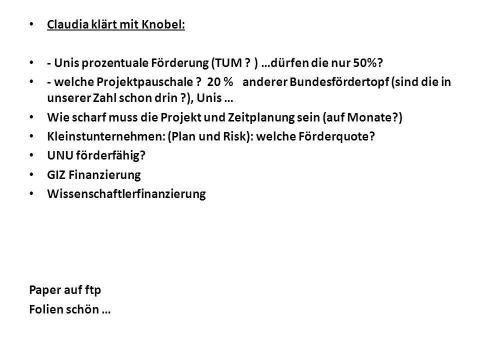 Claudia klärt mit Knobel: - Unis prozentuale Förderung (TUM .