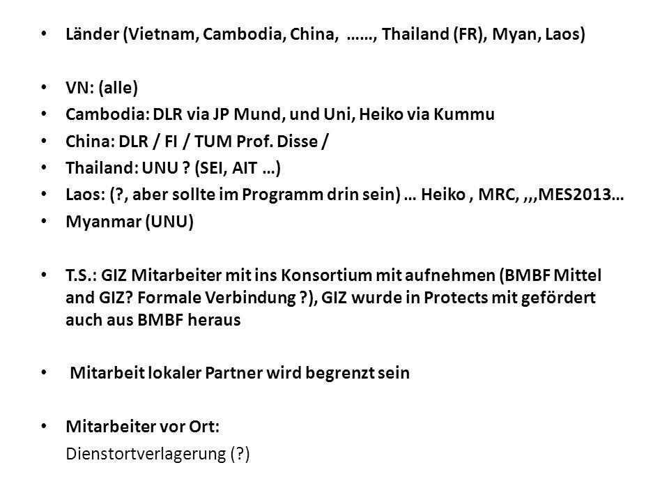 Länder (Vietnam, Cambodia, China, ……, Thailand (FR), Myan, Laos) VN: (alle) Cambodia: DLR via JP Mund, und Uni, Heiko via Kummu China: DLR / FI / TUM