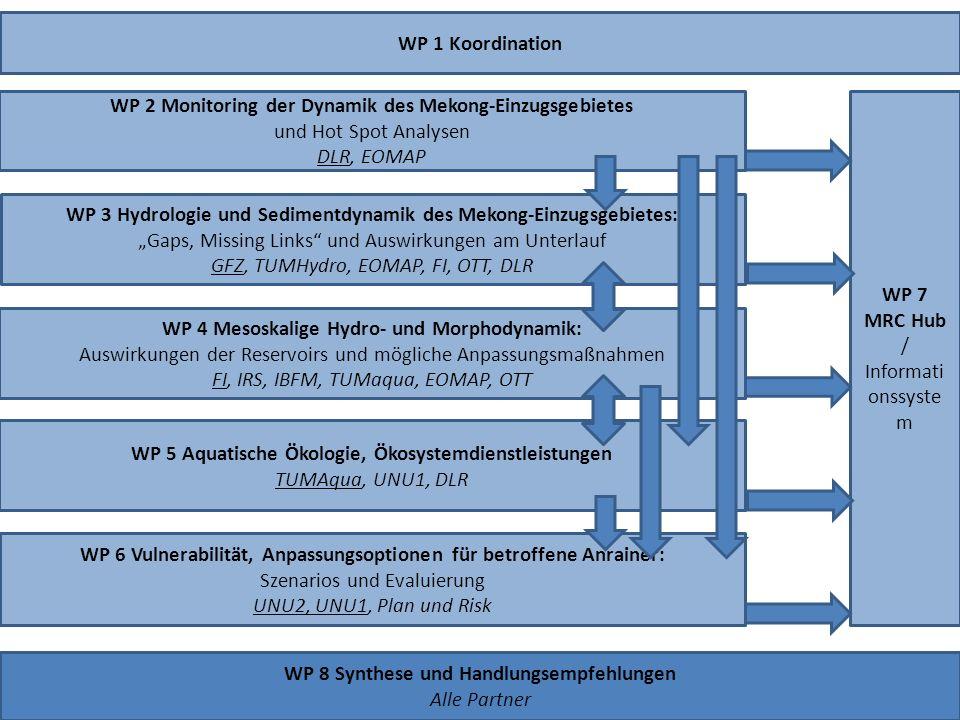 WP 1 Koordination WP 3 Hydrologie und Sedimentdynamik des Mekong-Einzugsgebietes: Gaps, Missing Links und Auswirkungen am Unterlauf GFZ, TUMHydro, EOM