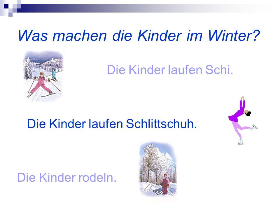 Was machen die Kinder im Winter? Die Kinder laufen Schi. Die Kinder laufen Schlittschuh. Die Kinder rodeln.