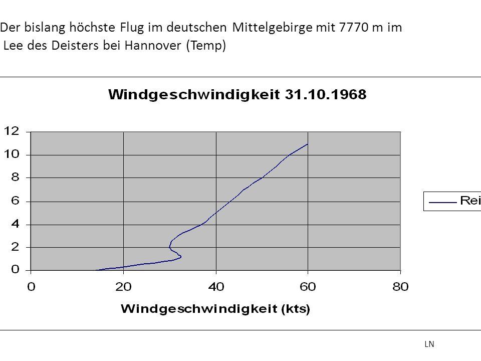 Der bislang höchste Flug im deutschen Mittelgebirge mit 7770 m im Lee des Deisters bei Hannover (Temp) LN