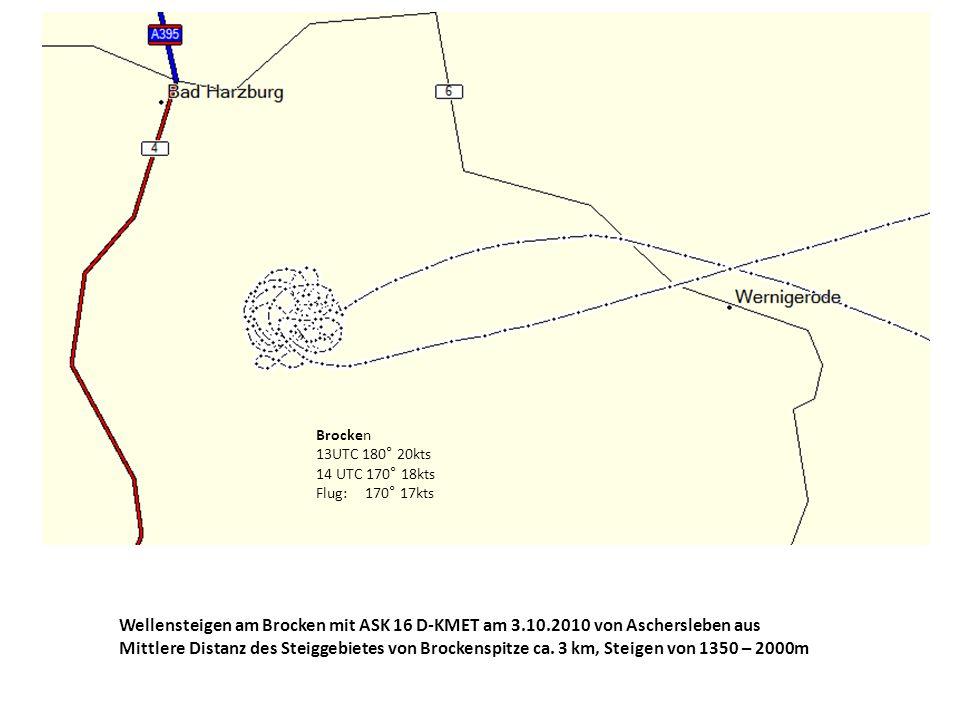 Brocken 13UTC 180° 20kts 14 UTC 170° 18kts Flug: 170° 17kts Wellensteigen am Brocken mit ASK 16 D-KMET am 3.10.2010 von Aschersleben aus Mittlere Dist