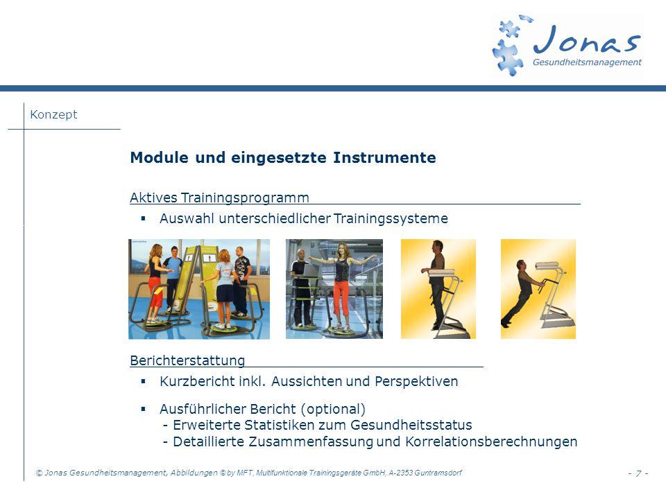 Konzept © Jonas Gesundheitsmanagement, Abbildungen © by MFT, Multifunktionale Trainingsgeräte GmbH, A-2353 Guntramsdorf - 7 - Module und eingesetzte Instrumente Aktives Trainingsprogramm_________________________________ Auswahl unterschiedlicher Trainingssysteme Berichterstattung_____________________________ Kurzbericht inkl.