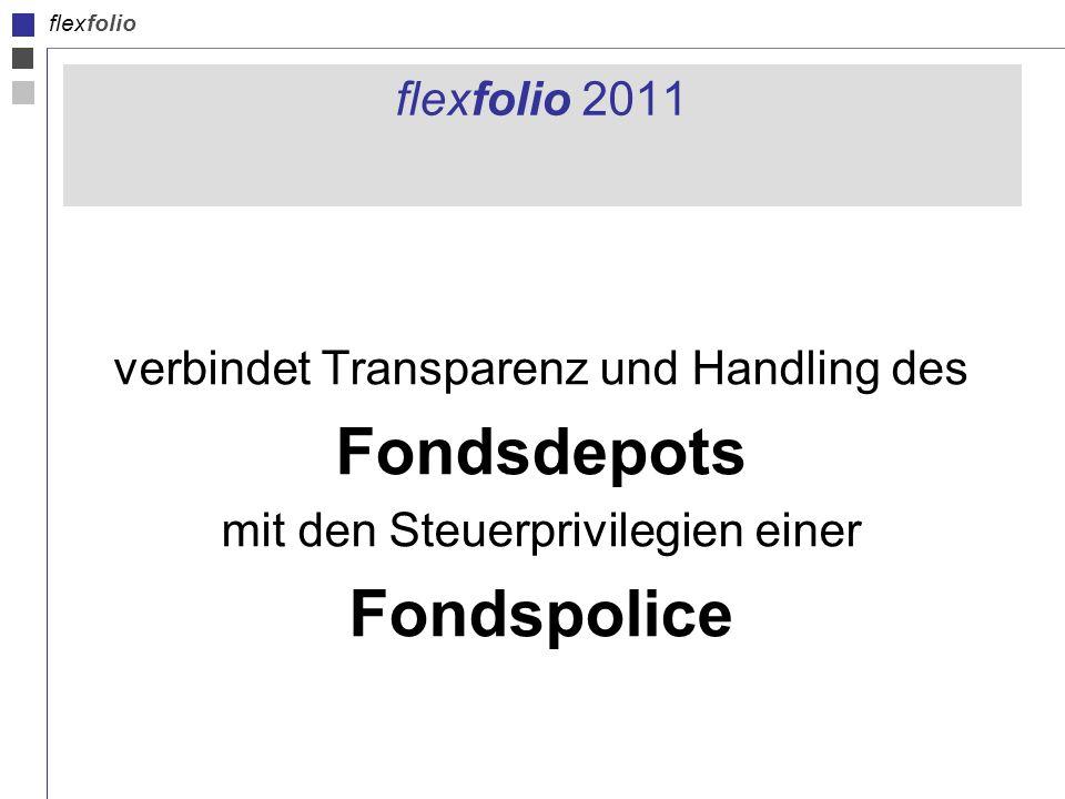 flexfolio flexfolio 2011 verbindet Transparenz und Handling des Fondsdepots mit den Steuerprivilegien einer Fondspolice