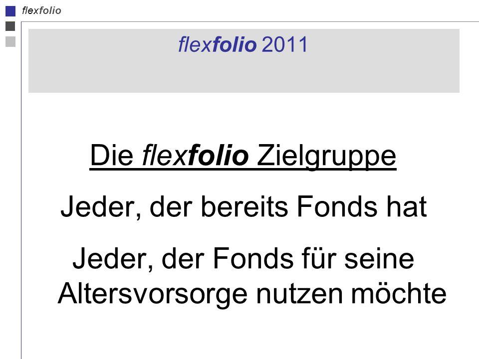 flexfolio flexfolio 2011 Die flexfolio Zielgruppe Jeder, der bereits Fonds hat Jeder, der Fonds für seine Altersvorsorge nutzen möchte