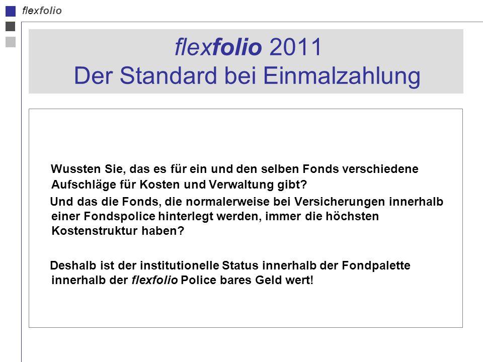 flexfolio flexfolio 2011 Der Standard bei Einmalzahlung Wussten Sie, das es für ein und den selben Fonds verschiedene Aufschläge für Kosten und Verwaltung gibt.