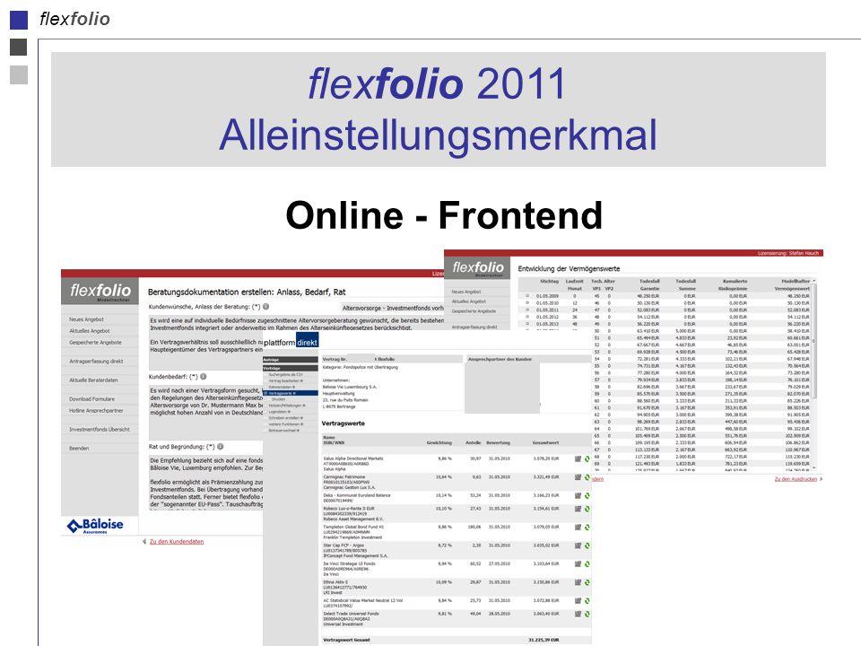 flexfolio Online - Frontend flexfolio 2011 Alleinstellungsmerkmal