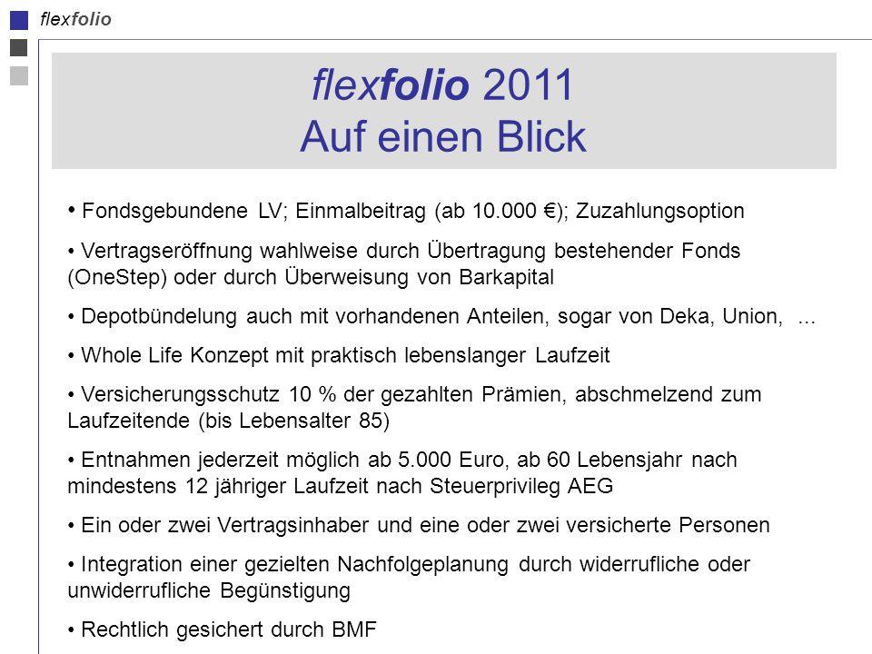 flexfolio flexfolio 2011 Auf einen Blick Fondsgebundene LV; Einmalbeitrag (ab 10.000 ); Zuzahlungsoption Vertragseröffnung wahlweise durch Übertragung bestehender Fonds (OneStep) oder durch Überweisung von Barkapital Depotbündelung auch mit vorhandenen Anteilen, sogar von Deka, Union,...