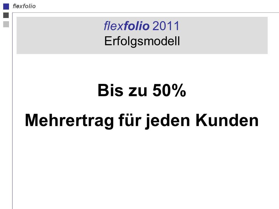 flexfolio flexfolio 2011 Erfolgsmodell Bis zu 50% Mehrertrag für jeden Kunden