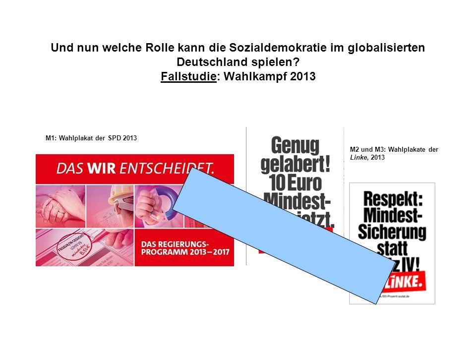 Und nun welche Rolle kann die Sozialdemokratie im globalisierten Deutschland spielen? Fallstudie: Wahlkampf 2013 M1: Wahlplakat der SPD 2013 M2 und M3