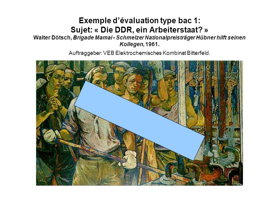 Exemple dévaluation type bac 1: Sujet: « Die DDR, ein Arbeiterstaat? » Walter Dötsch, Brigade Mamai - Schmelzer Nationalpreisträger Hübner hilft seine