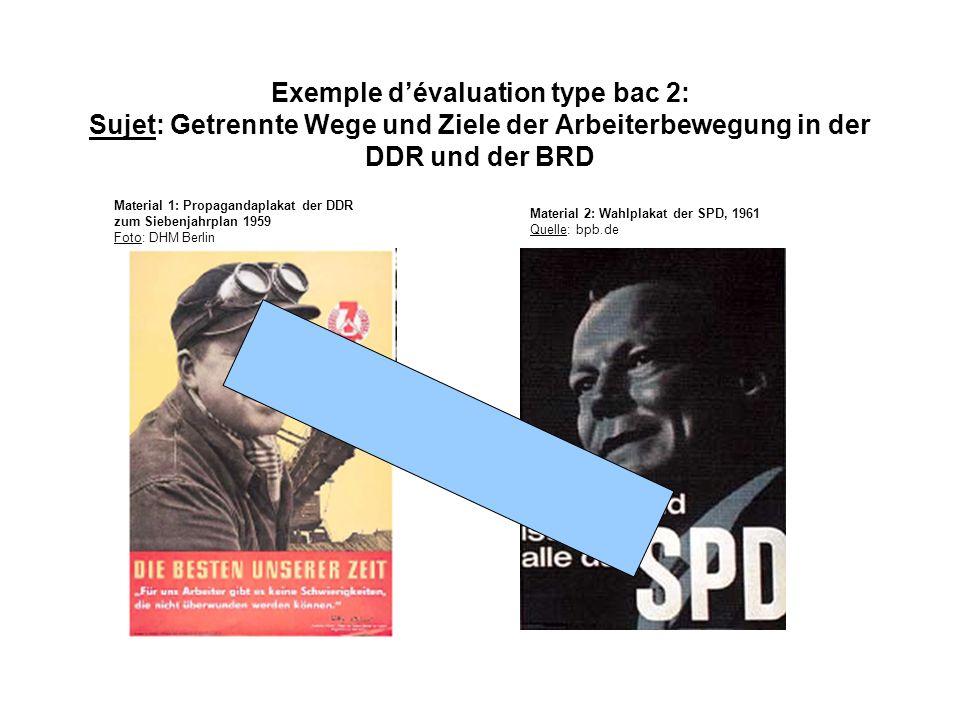 Exemple dévaluation type bac 2: Sujet: Getrennte Wege und Ziele der Arbeiterbewegung in der DDR und der BRD Material 1: Propagandaplakat der DDR zum S
