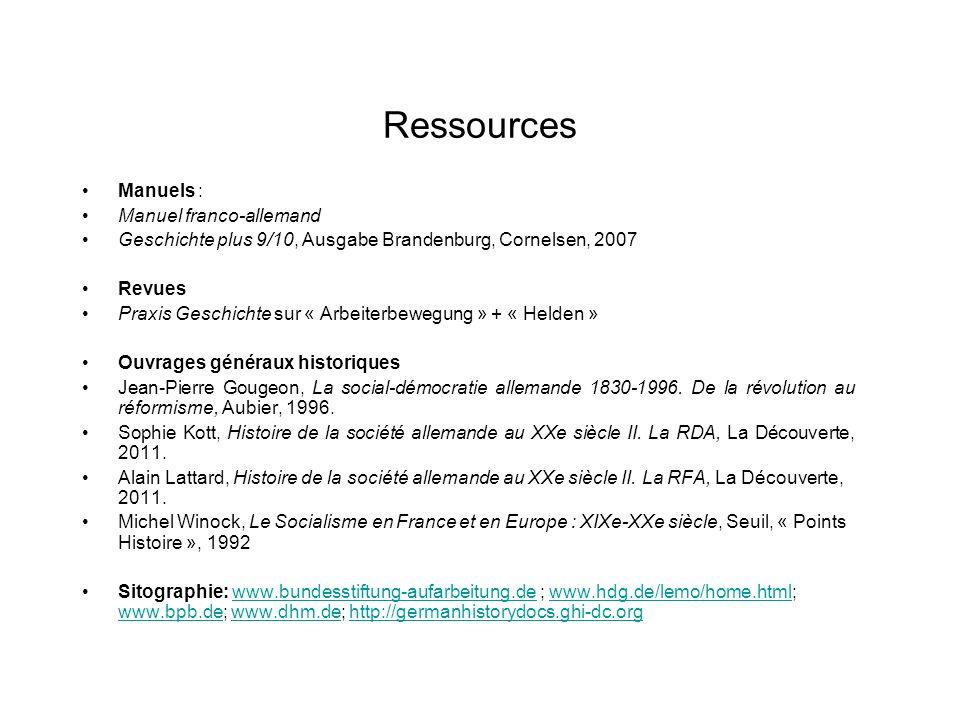 Ressources Manuels : Manuel franco-allemand Geschichte plus 9/10, Ausgabe Brandenburg, Cornelsen, 2007 Revues Praxis Geschichte sur « Arbeiterbewegung