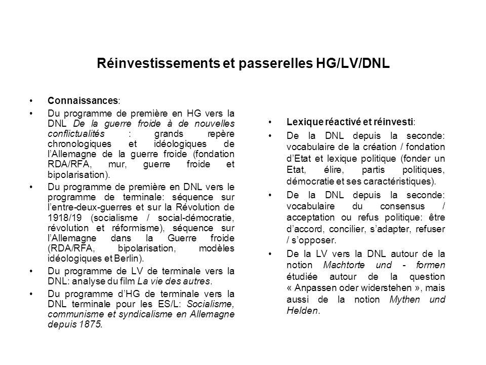Réinvestissements et passerelles HG/LV/DNL Connaissances: Du programme de première en HG vers la DNL De la guerre froide à de nouvelles conflictualité