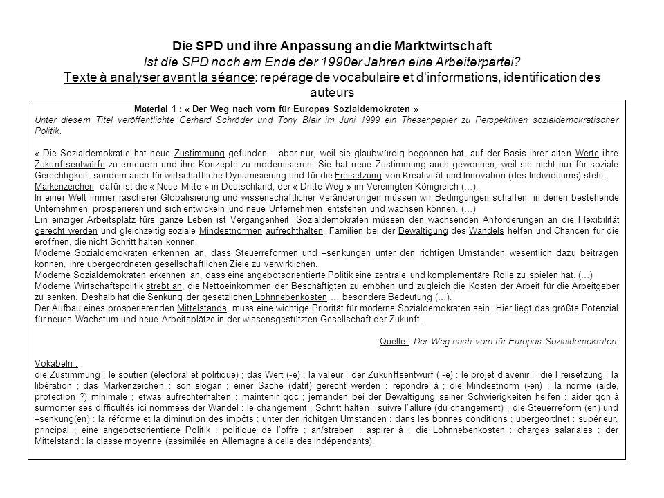 Die SPD und ihre Anpassung an die Marktwirtschaft Ist die SPD noch am Ende der 1990er Jahren eine Arbeiterpartei? Texte à analyser avant la séance: re