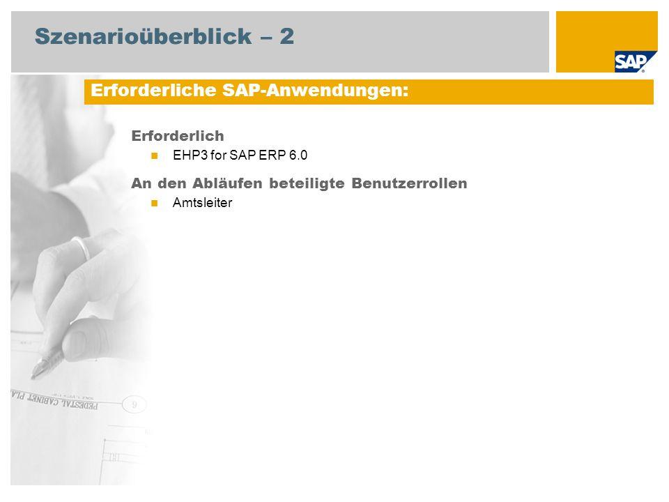 Szenarioüberblick – 2 Erforderlich EHP3 for SAP ERP 6.0 An den Abläufen beteiligte Benutzerrollen Amtsleiter Erforderliche SAP-Anwendungen: