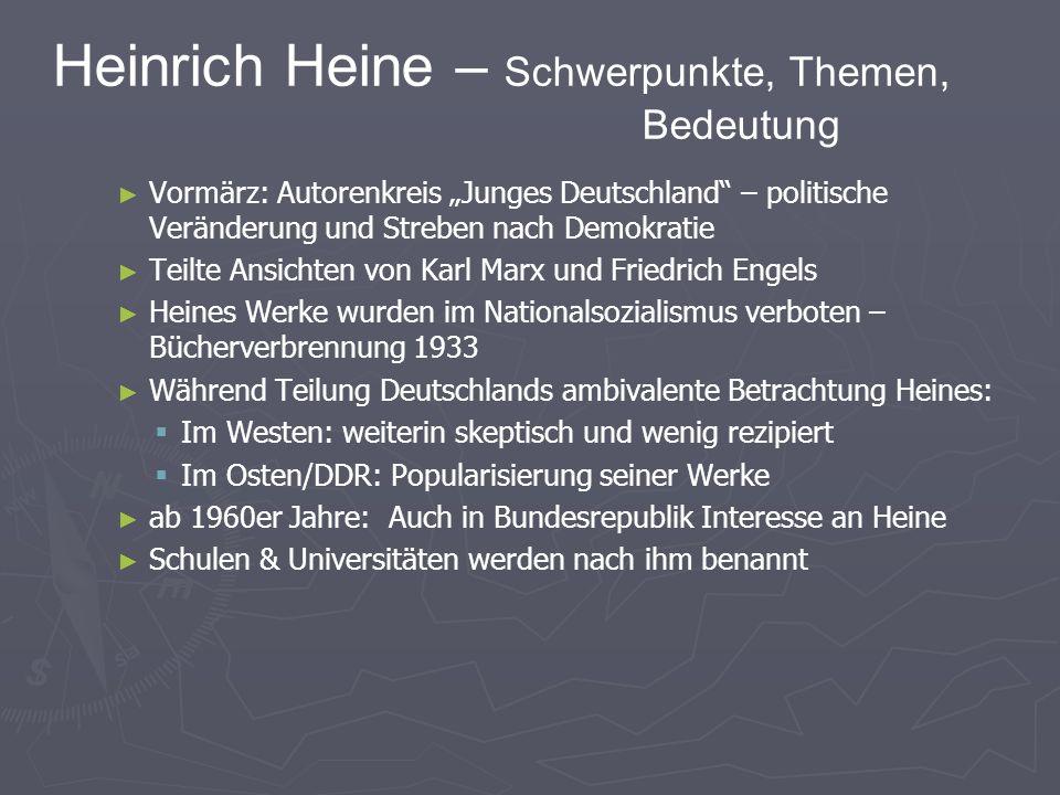 Heinrich Heine – Schwerpunkte, Themen, Bedeutung Vormärz: Autorenkreis Junges Deutschland – politische Veränderung und Streben nach Demokratie Teilte Ansichten von Karl Marx und Friedrich Engels Heines Werke wurden im Nationalsozialismus verboten – Bücherverbrennung 1933 Während Teilung Deutschlands ambivalente Betrachtung Heines: Im Westen: weiterin skeptisch und wenig rezipiert Im Osten/DDR: Popularisierung seiner Werke ab 1960er Jahre: Auch in Bundesrepublik Interesse an Heine Schulen & Universitäten werden nach ihm benannt