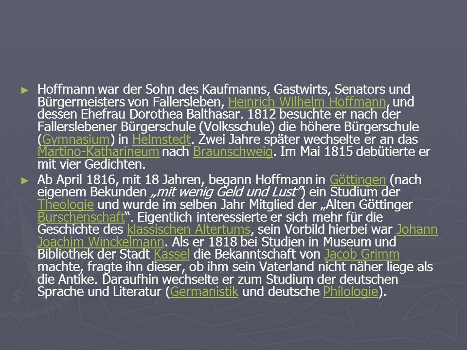 Hoffmann war der Sohn des Kaufmanns, Gastwirts, Senators und Bürgermeisters von Fallersleben, Heinrich Wilhelm Hoffmann, und dessen Ehefrau Dorothea Balthasar.
