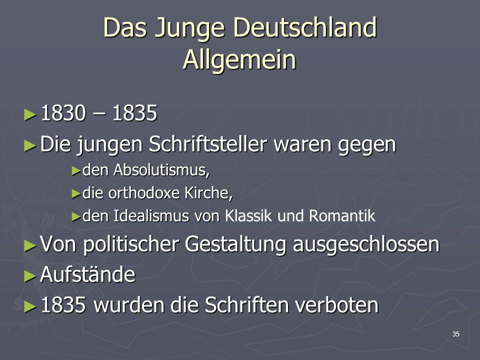 35 Das Junge Deutschland Allgemein 1830 – 1835 1830 – 1835 Die jungen Schriftsteller waren gegen Die jungen Schriftsteller waren gegen den Absolutismu