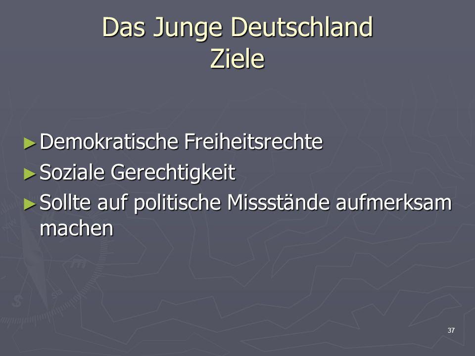 37 Das Junge Deutschland Ziele Demokratische Freiheitsrechte Demokratische Freiheitsrechte Soziale Gerechtigkeit Soziale Gerechtigkeit Sollte auf politische Missstände aufmerksam machen Sollte auf politische Missstände aufmerksam machen