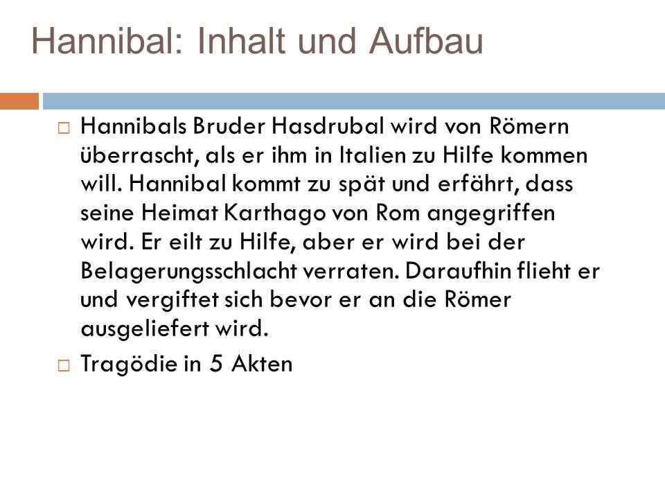 Hannibal: Inhalt und Aufbau Hannibals Bruder Hasdrubal wird von Römern überrascht, als er ihm in Italien zu Hilfe kommen will. Hannibal kommt zu spät