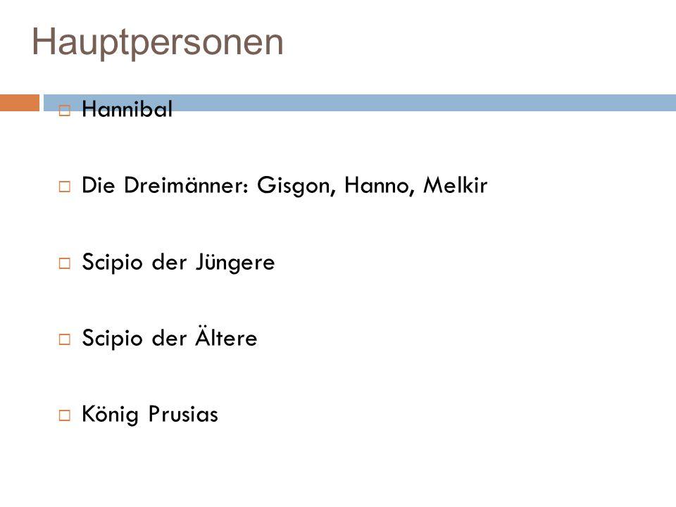 Hauptpersonen Hannibal Die Dreimänner: Gisgon, Hanno, Melkir Scipio der Jüngere Scipio der Ältere König Prusias