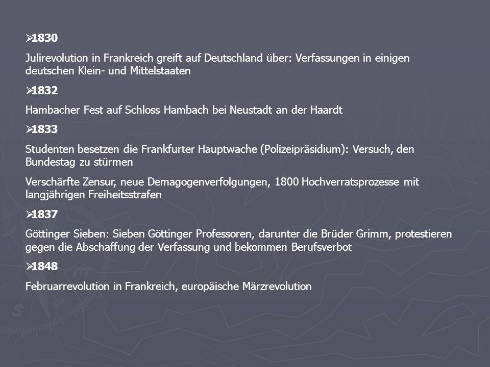1830 Julirevolution in Frankreich greift auf Deutschland über: Verfassungen in einigen deutschen Klein- und Mittelstaaten 1832 Hambacher Fest auf Schl