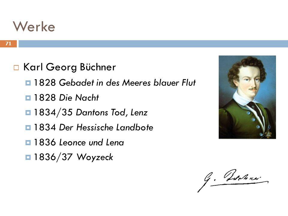 71 Werke Karl Georg Büchner 1828 Gebadet in des Meeres blauer Flut 1828 Die Nacht 1834/35 Dantons Tod, Lenz 1834 Der Hessische Landbote 1836 Leonce und Lena 1836/37 Woyzeck