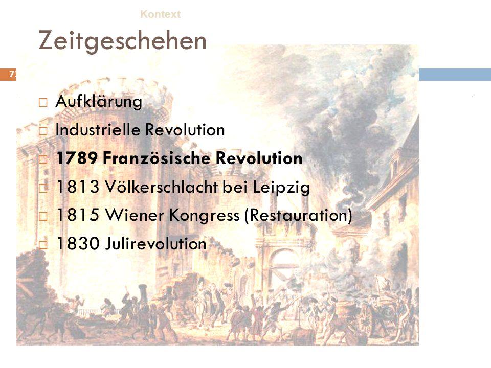 72 Zeitgeschehen Aufklärung Industrielle Revolution 1789 Französische Revolution 1813 Völkerschlacht bei Leipzig 1815 Wiener Kongress (Restauration) 1