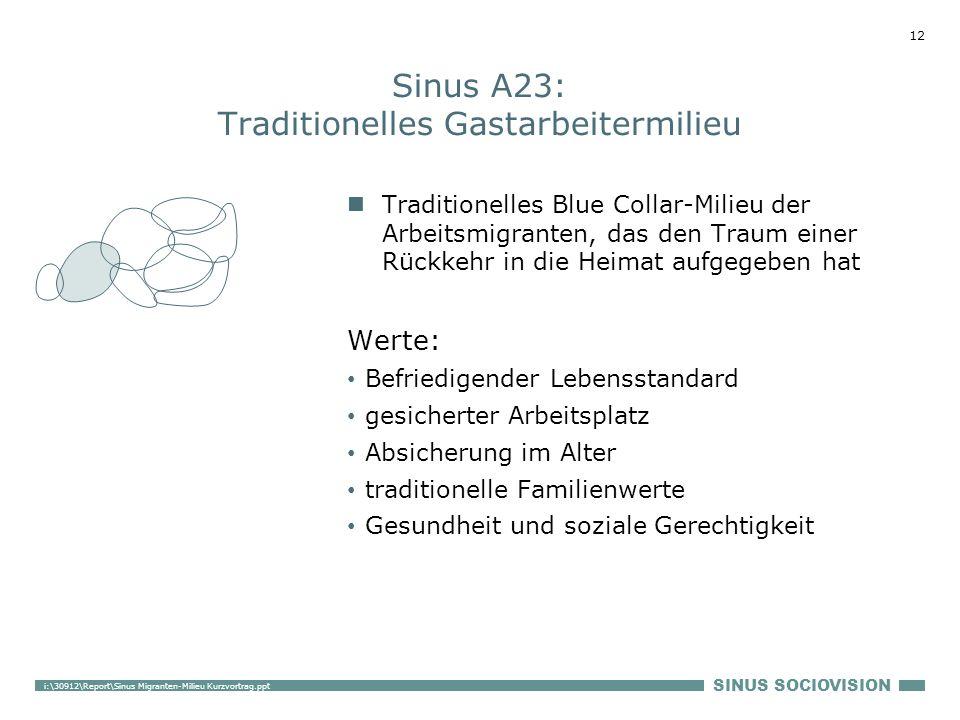 SINUS SOCIOVISION 12 i:\30912\Report\Sinus Migranten-Milieu Kurzvortrag.ppt Sinus A23: Traditionelles Gastarbeitermilieu Traditionelles Blue Collar-Mi
