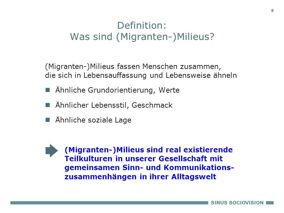 SINUS SOCIOVISION 8 Definition: Was sind (Migranten-)Milieus? (Migranten-)Milieus fassen Menschen zusammen, die sich in Lebensauffassung und Lebenswei