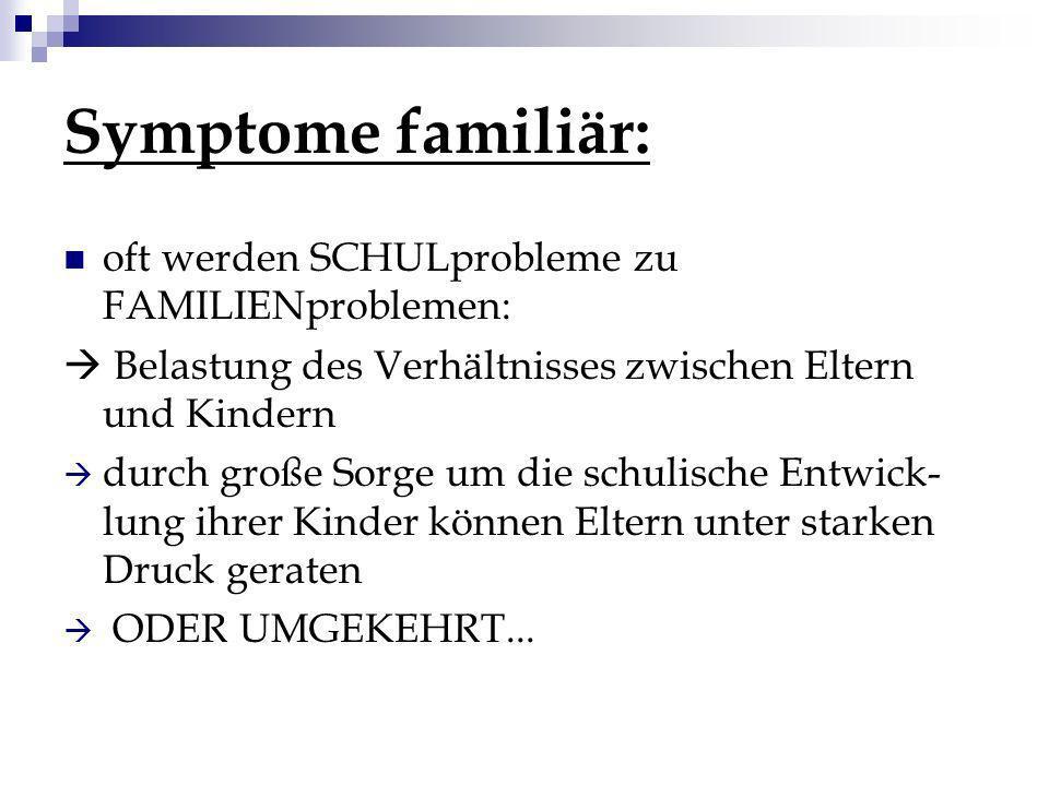 Symptome familiär: oft werden SCHULprobleme zu FAMILIENproblemen: Belastung des Verhältnisses zwischen Eltern und Kindern durch große Sorge um die sch