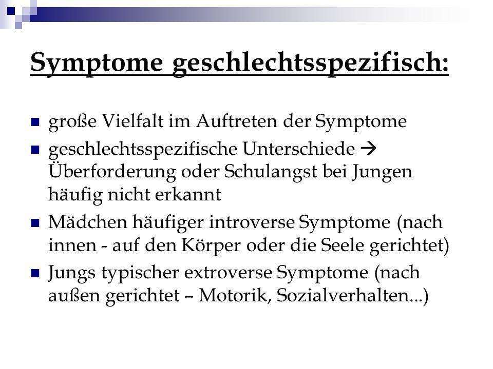 Symptome geschlechtsspezifisch: große Vielfalt im Auftreten der Symptome geschlechtsspezifische Unterschiede Überforderung oder Schulangst bei Jungen
