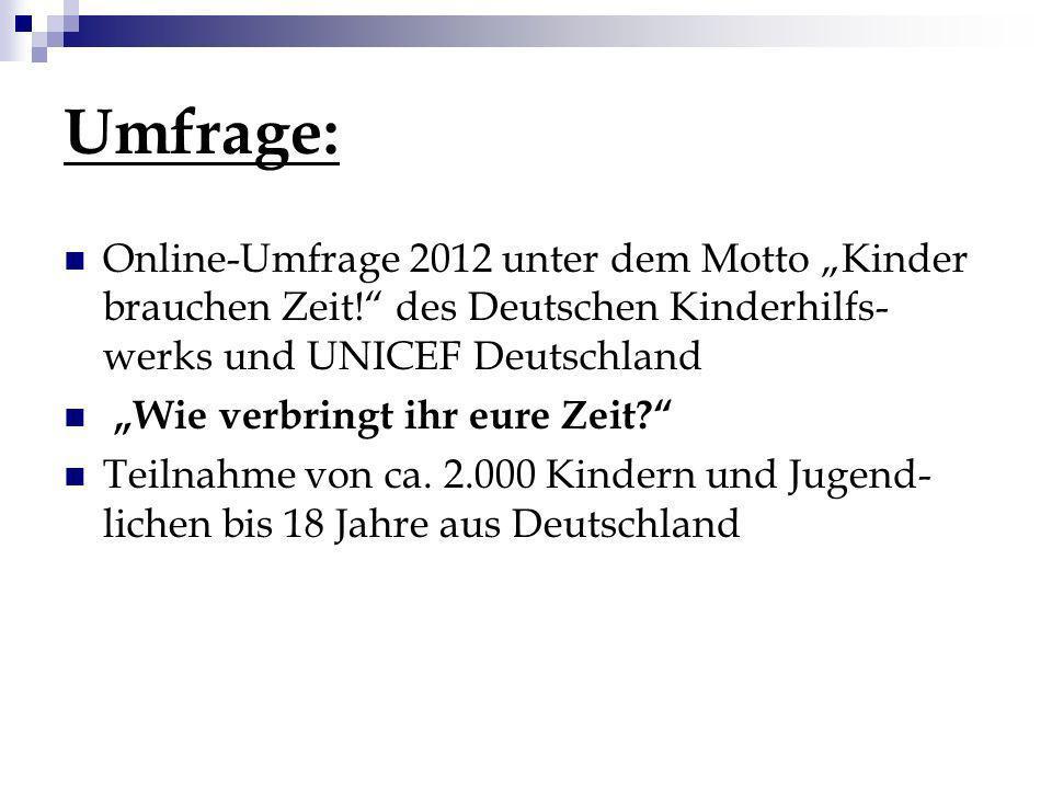 Umfrage: Online-Umfrage 2012 unter dem Motto Kinder brauchen Zeit! des Deutschen Kinderhilfs- werks und UNICEF Deutschland Wie verbringt ihr eure Zeit