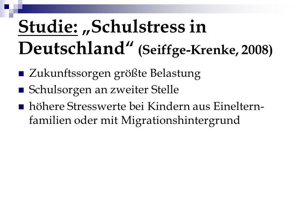 Studie: Schulstress in Deutschland (Seiffge-Krenke, 2008) Zukunftssorgen größte Belastung Schulsorgen an zweiter Stelle höhere Stresswerte bei Kindern