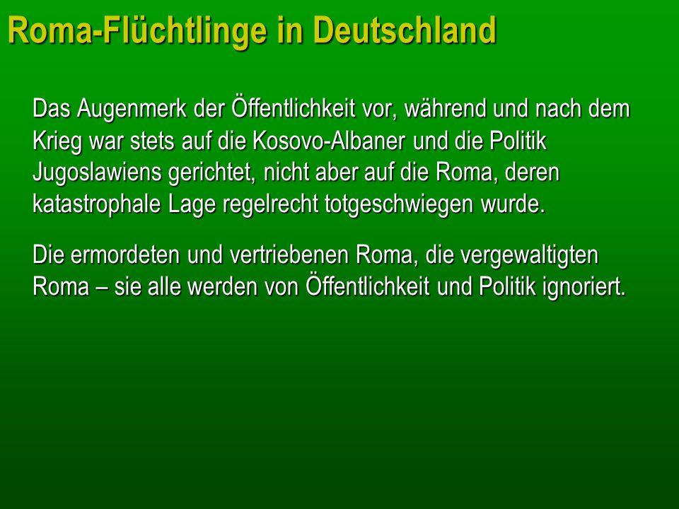 Roma-Flüchtlinge in Deutschland Das Augenmerk der Öffentlichkeit vor, während und nach dem Krieg war stets auf die Kosovo-Albaner und die Politik Jugo