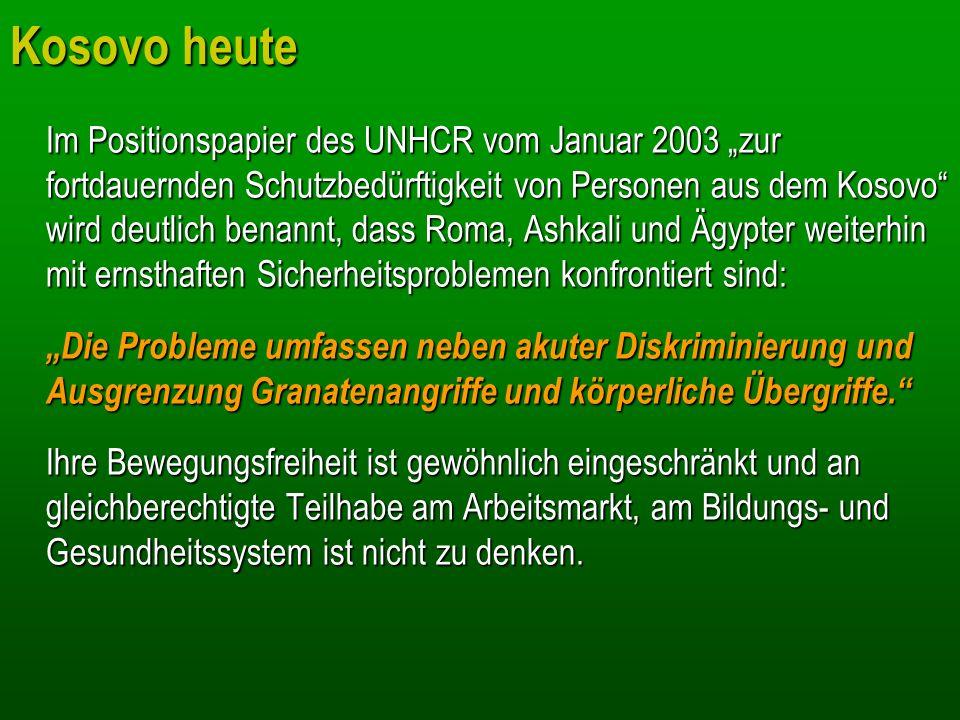 Kosovo heute Im Positionspapier des UNHCR vom Januar 2003 zur fortdauernden Schutzbedürftigkeit von Personen aus dem Kosovo wird deutlich benannt, das