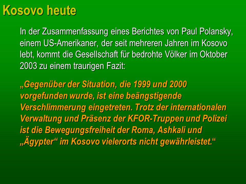 Kosovo heute In der Zusammenfassung eines Berichtes von Paul Polansky, einem US-Amerikaner, der seit mehreren Jahren im Kosovo lebt, kommt die Gesells