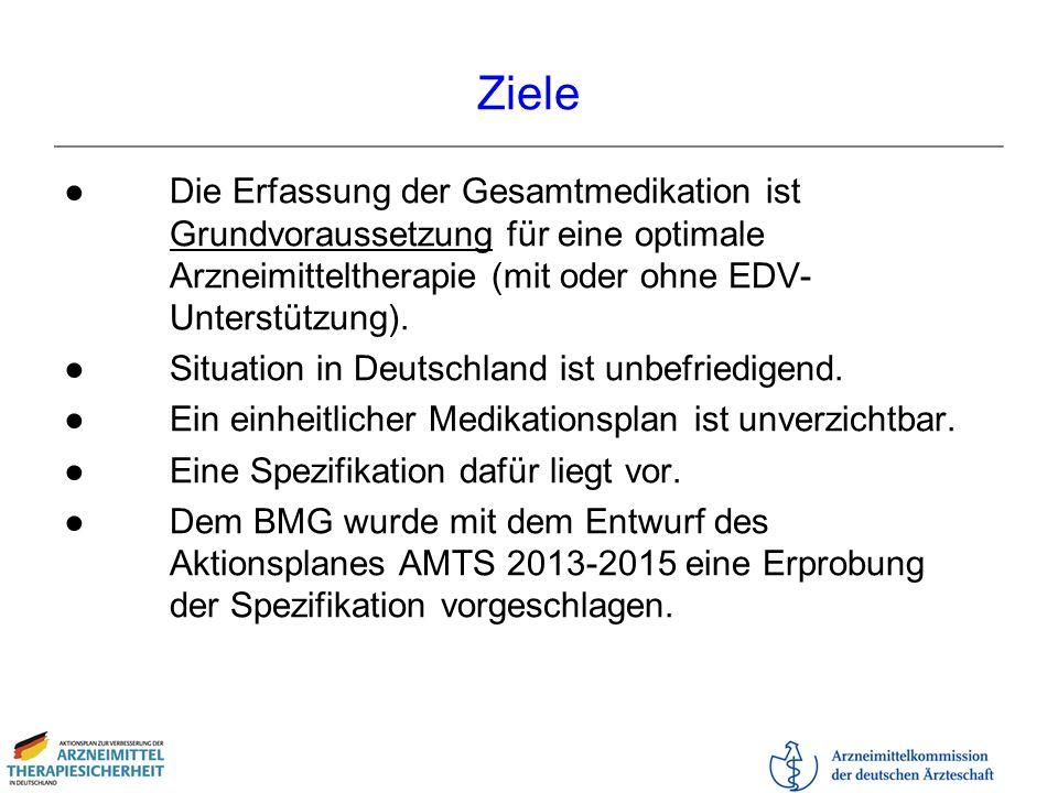 Ziele Die Erfassung der Gesamtmedikation ist Grundvoraussetzung für eine optimale Arzneimitteltherapie (mit oder ohne EDV- Unterstützung). Situation i