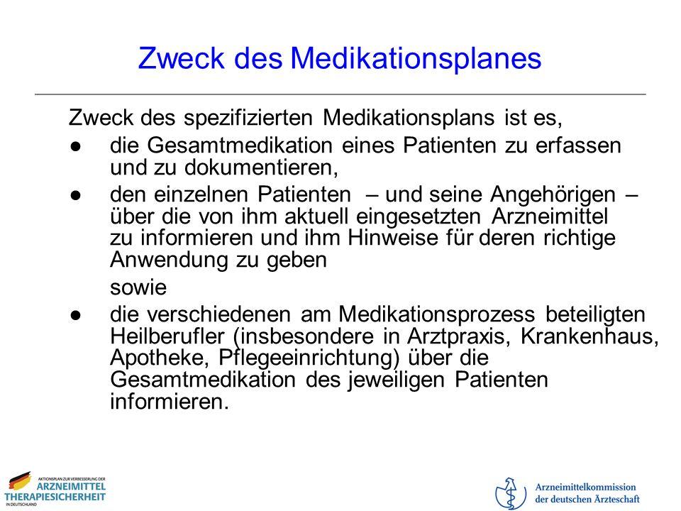 Zweck des Medikationsplanes Zweck des spezifizierten Medikationsplans ist es, die Gesamtmedikation eines Patienten zu erfassen und zu dokumentieren, d