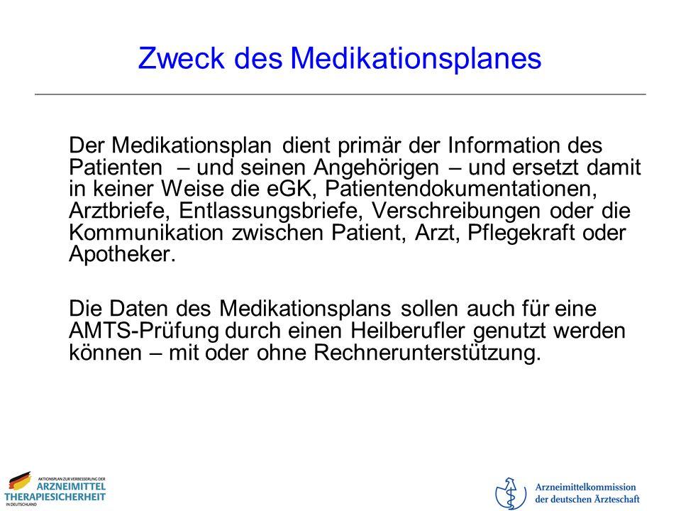 Zweck des Medikationsplanes Der Medikationsplan dient primär der Information des Patienten – und seinen Angehörigen – und ersetzt damit in keiner Weis