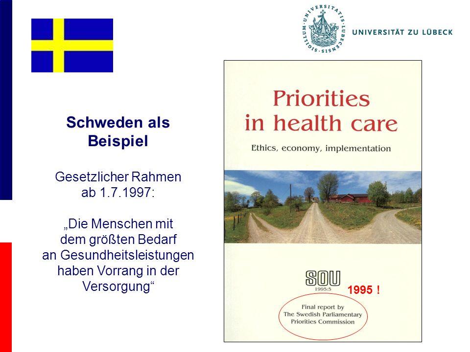 Schweden als Beispiel Gesetzlicher Rahmen ab 1.7.1997: Die Menschen mit dem größten Bedarf an Gesundheitsleistungen haben Vorrang in der Versorgung 1995 !