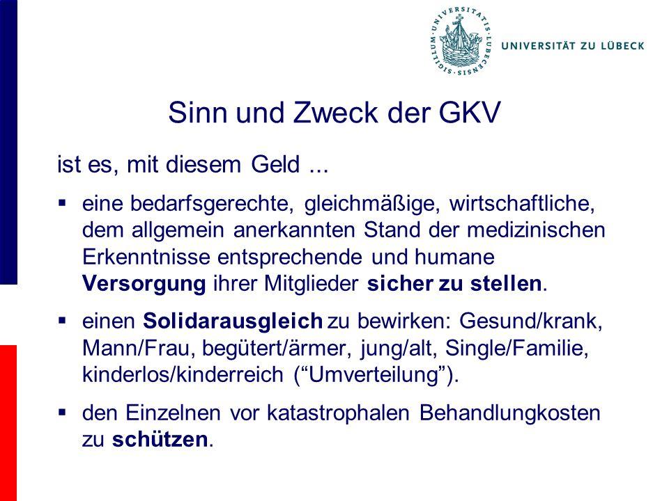 Zur finanziellen Situation der GKV 2009 Land % GDP USA17,3 CH12,0 F11,8 D11,6 D 2009 3400 / Kopf 70 % aus Sozial- versicherungen