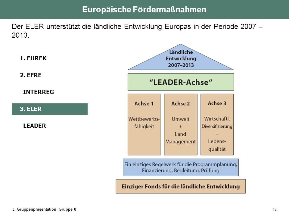 3. Gruppenpräsentation Gruppe 819 Der ELER unterstützt die ländliche Entwicklung Europas in der Periode 2007 – 2013. Europäische Fördermaßnahmen 1. EU