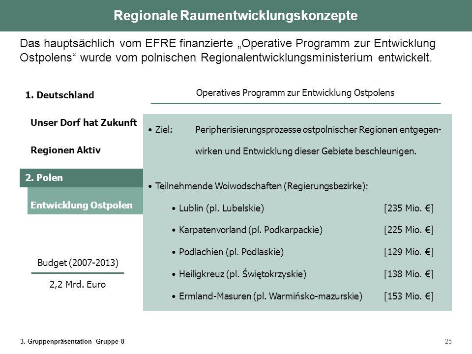 3. Gruppenpräsentation Gruppe 825 Ziel: Peripherisierungsprozesse ostpolnischer Regionen entgegen- wirken und Entwicklung dieser Gebiete beschleunigen