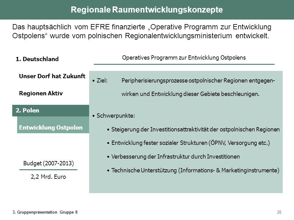 3. Gruppenpräsentation Gruppe 826 Ziel: Peripherisierungsprozesse ostpolnischer Regionen entgegen- wirken und Entwicklung dieser Gebiete beschleunigen