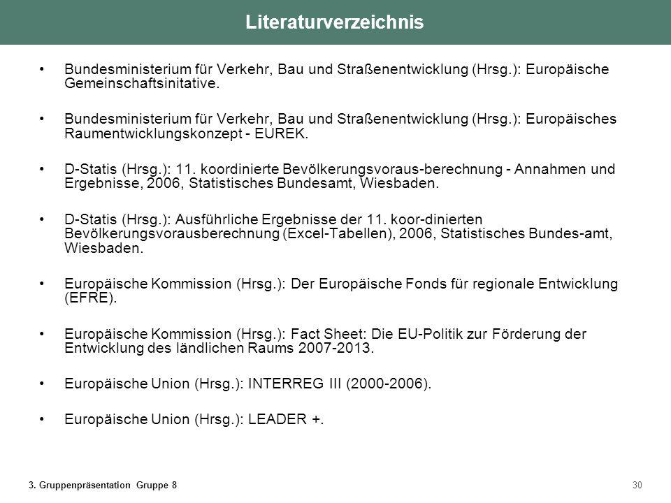 3. Gruppenpräsentation Gruppe 830 Bundesministerium für Verkehr, Bau und Straßenentwicklung (Hrsg.): Europäische Gemeinschaftsinitative. Bundesministe