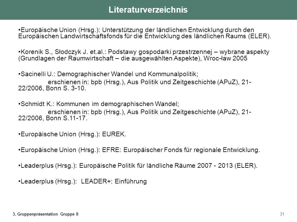 3. Gruppenpräsentation Gruppe 831 Literaturverzeichnis Europäische Union (Hrsg.): Unterstützung der ländlichen Entwicklung durch den Europäischen Land